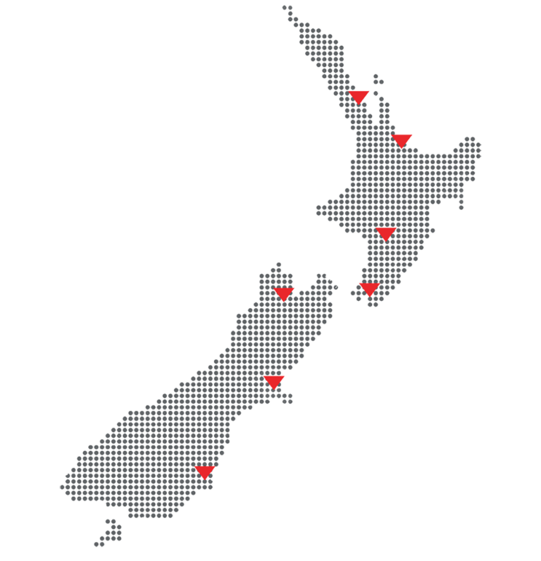 NZ map showing the locations for Precise Consulting & Laboratories